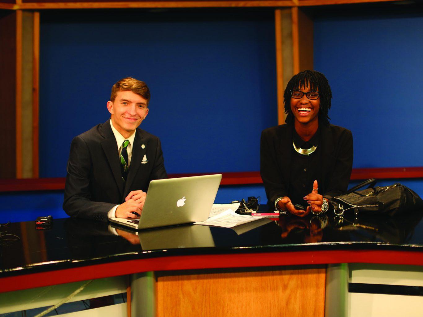 Students Preparing News Broadcast