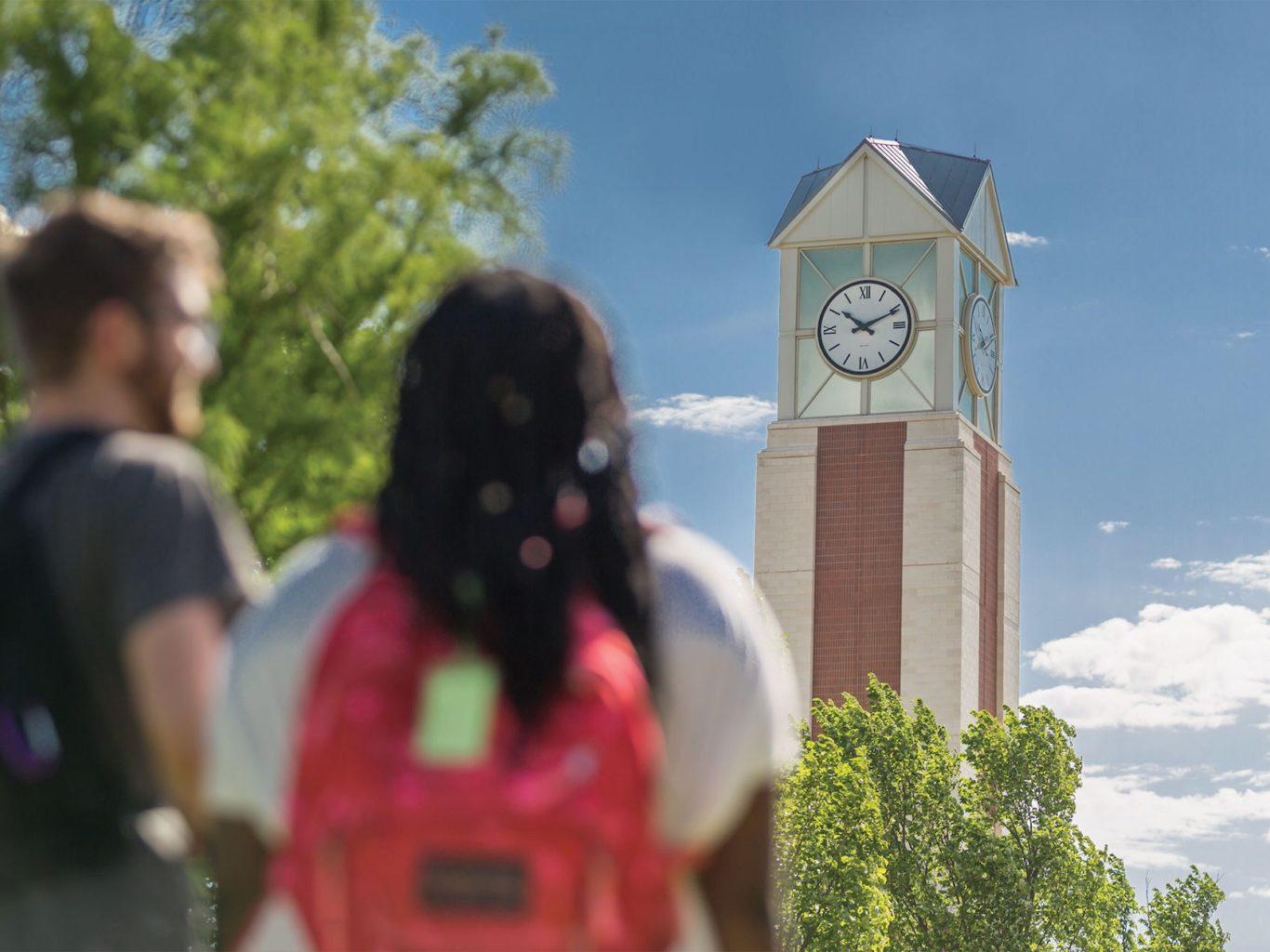 Students at clocktower