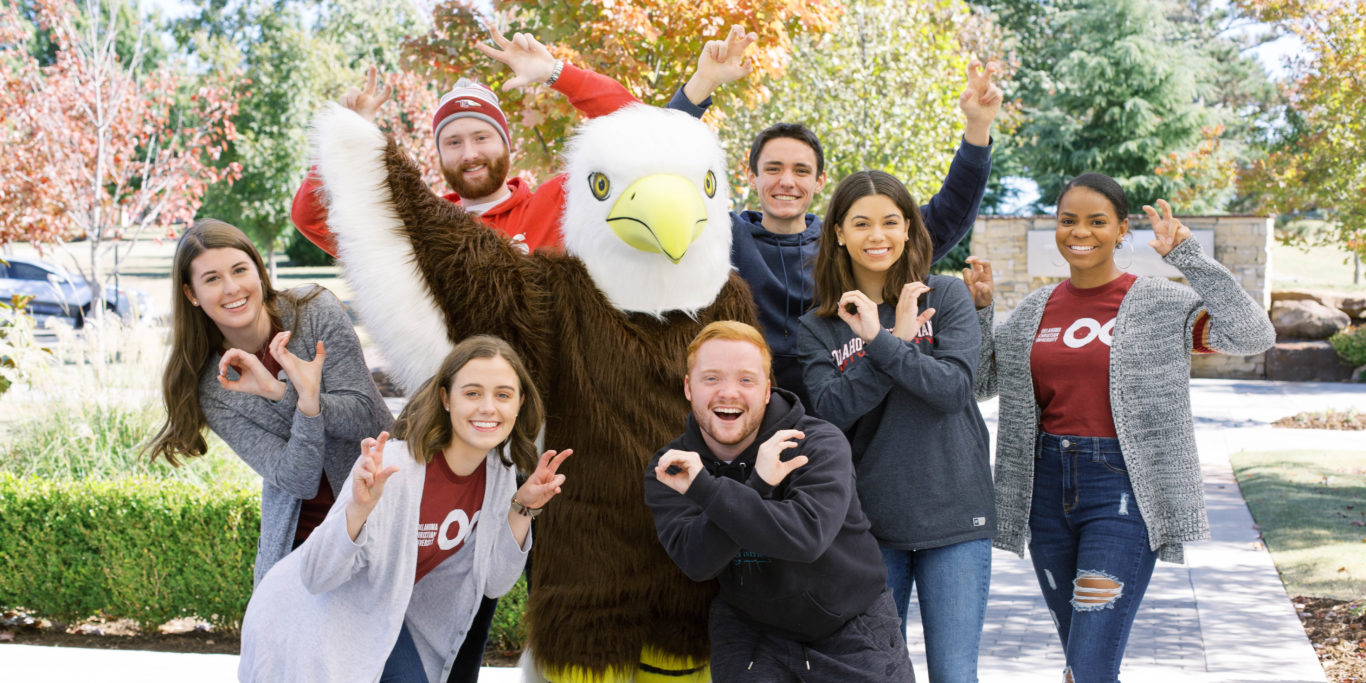 Ike the Eagle with students
