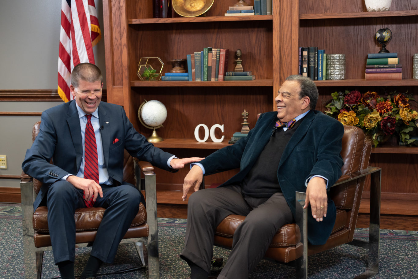 Andrew Young speaks with President deSteiguer