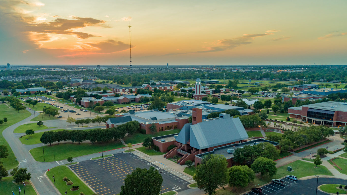 Ariel view of campus from Bible building