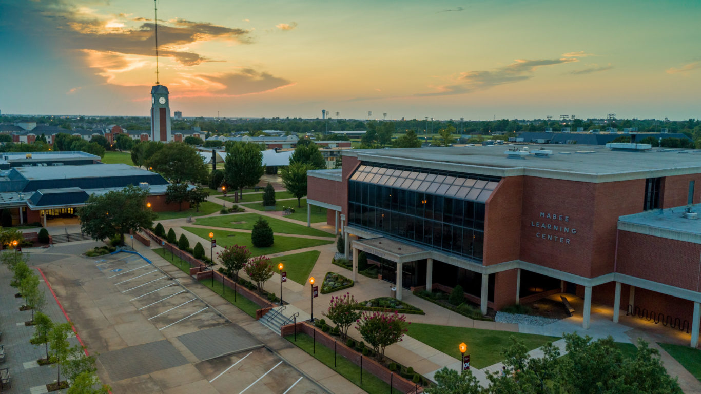 Aerial look at campus from Mabee Center