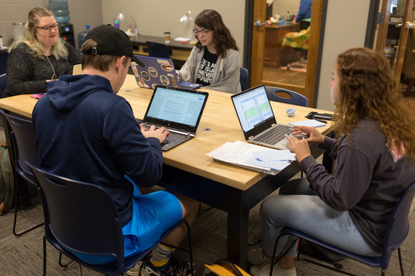 Students working in the Student Success Center