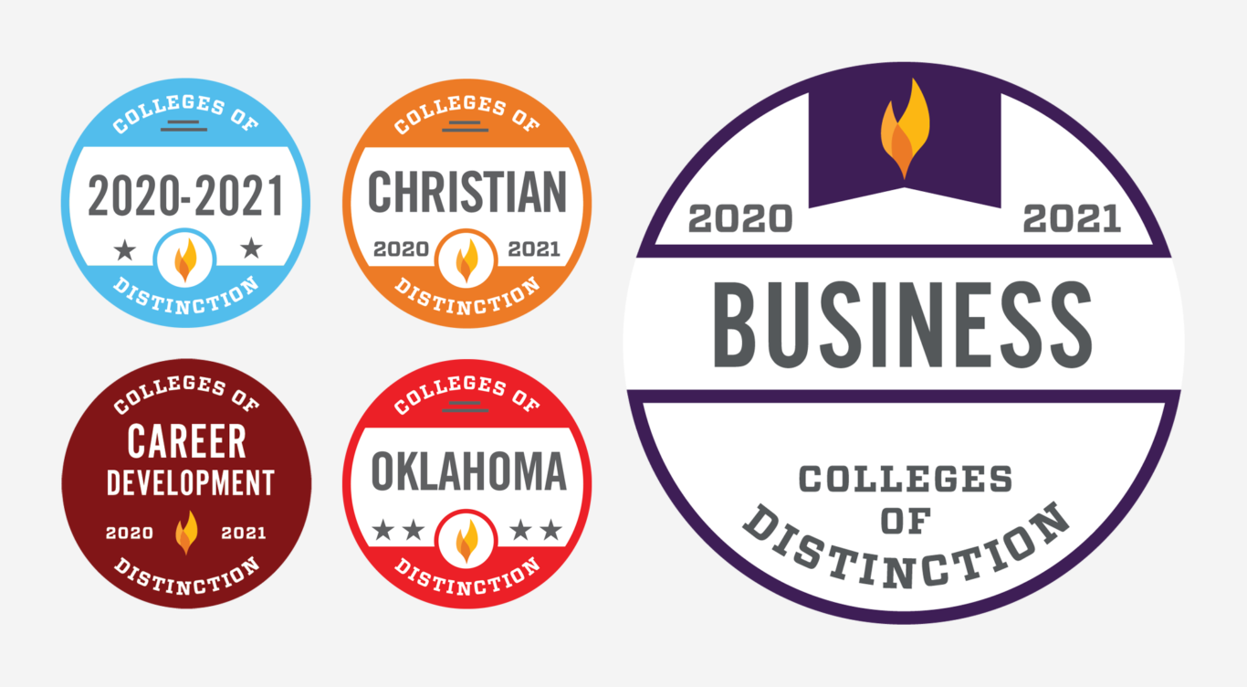Colleges of Distinction badges featuring Business