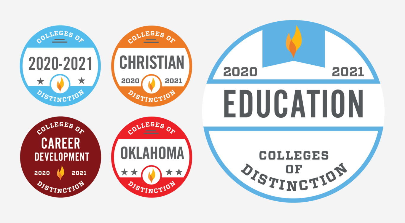 Colleges of Distinction badges featuring Education
