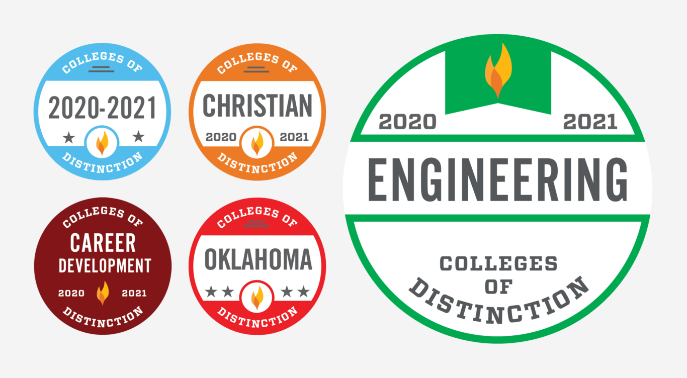 Colleges of Distinction badges featuring Engineering