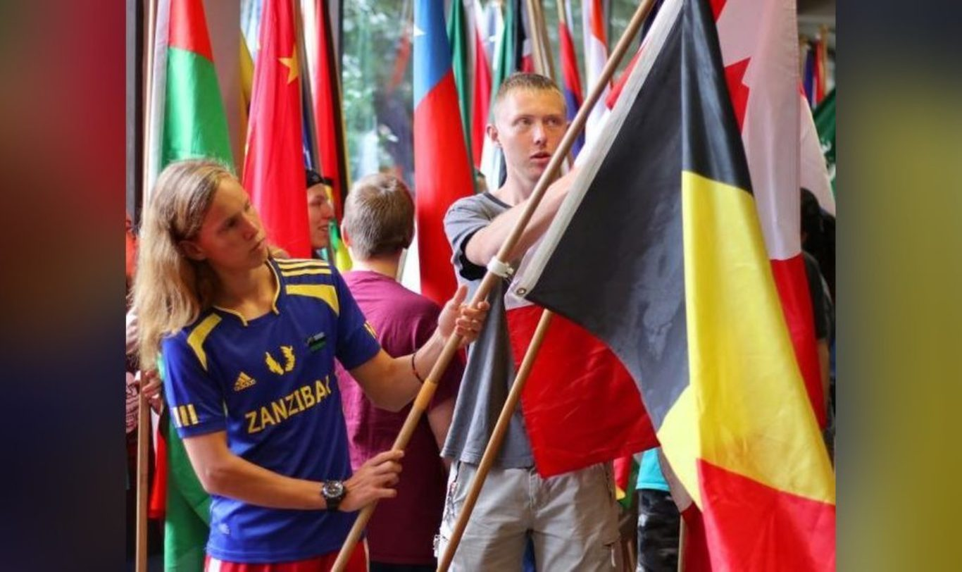 Two Boys holding flag