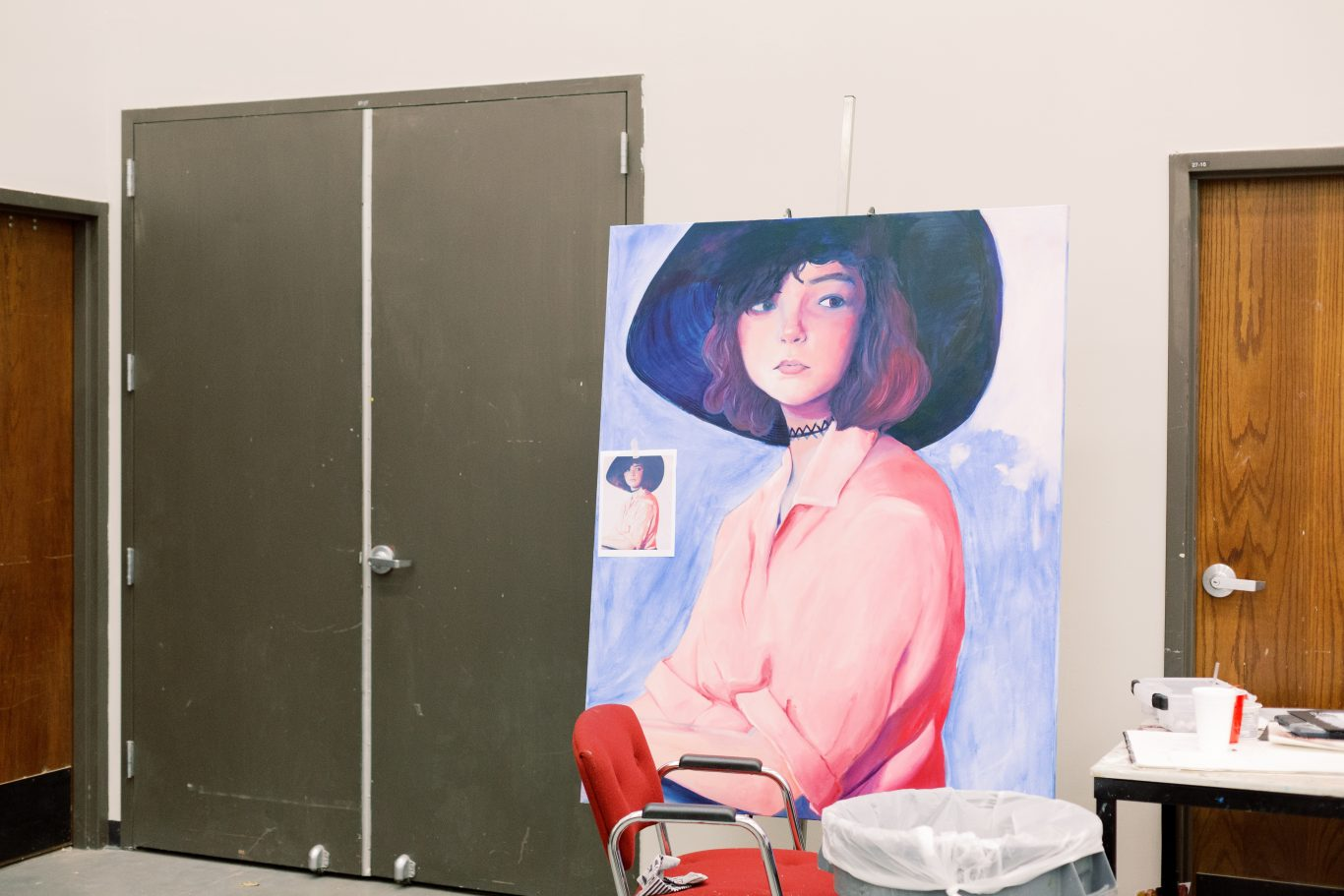 Painting in art studio