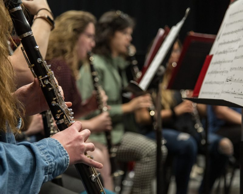 Close-up of students performing music