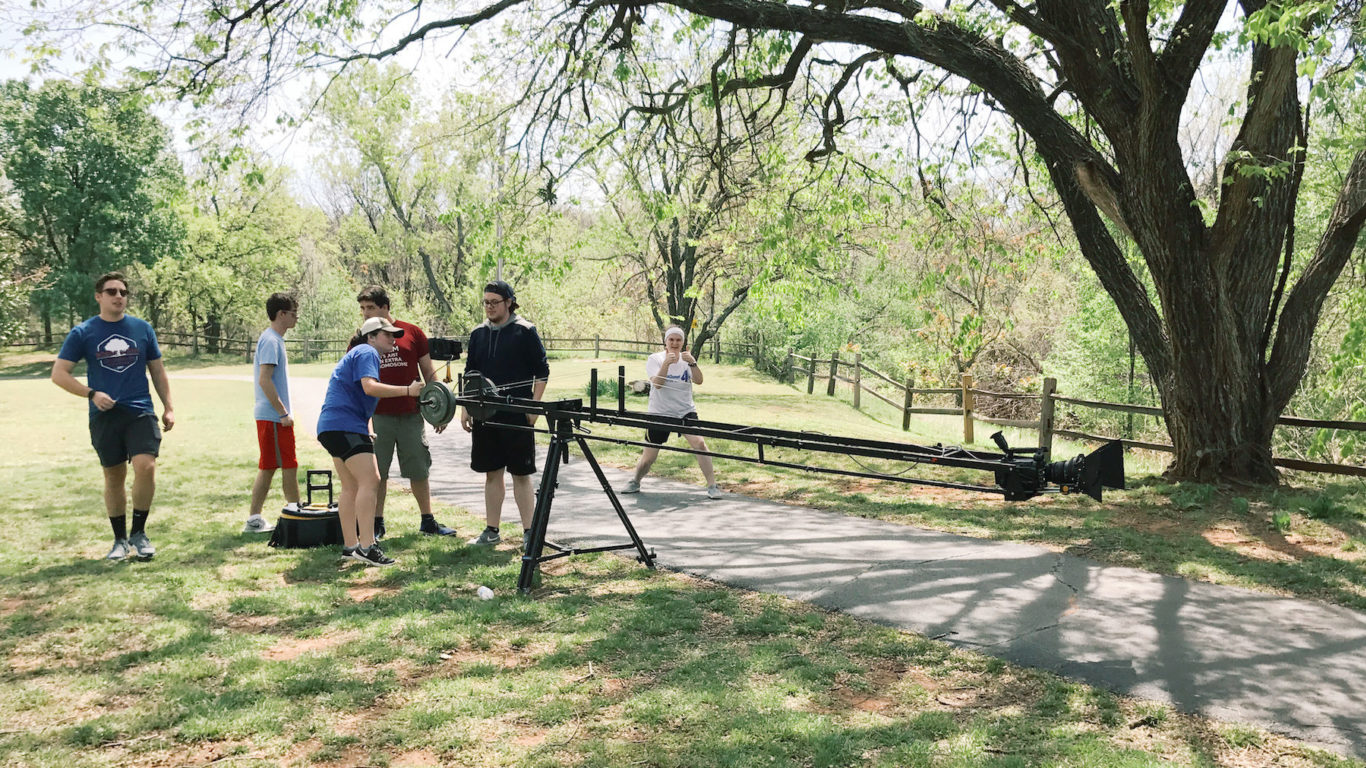 student film crew on location